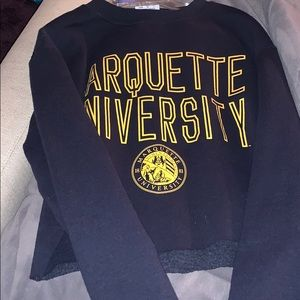 Cropped champion Marquette univ hoodie crewneck